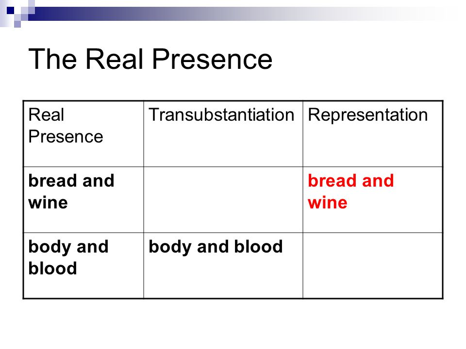 The Real Presence Real Presence TransubstantiationRepresentation bread and wine body and blood