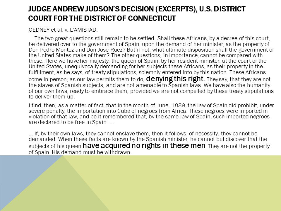 JUDGE ANDREW JUDSON'S DECISION (EXCERPTS), U.S.