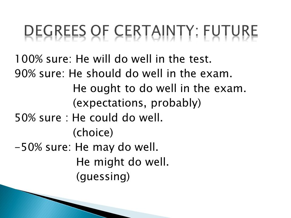 100% sure: He will do well in the test. 90% sure: He should do well in the exam.