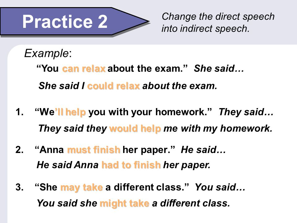 """Practice 2 'll help 1. """"We'll help you with your homework."""" They said… must finish 2. """"Anna must finish her paper."""" He said… may take 3. """"She may take"""