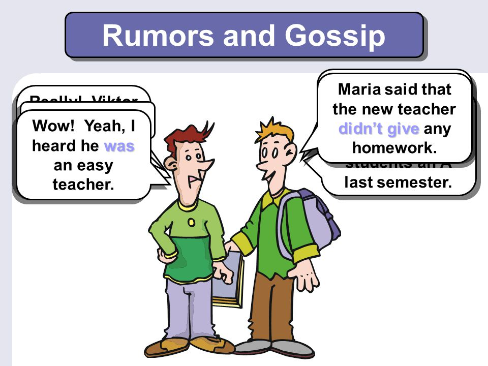 Indirect Speech 1 When the reporting verb is in the simple past, the verb tense in the indirect speech statement often changes.
