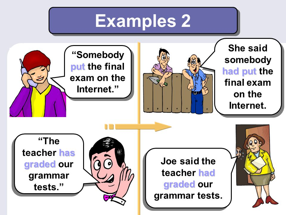 """Examples 2 put """"Somebody put the final exam on the Internet."""" had put She said somebody had put the final exam on the Internet. has graded """"The teache"""