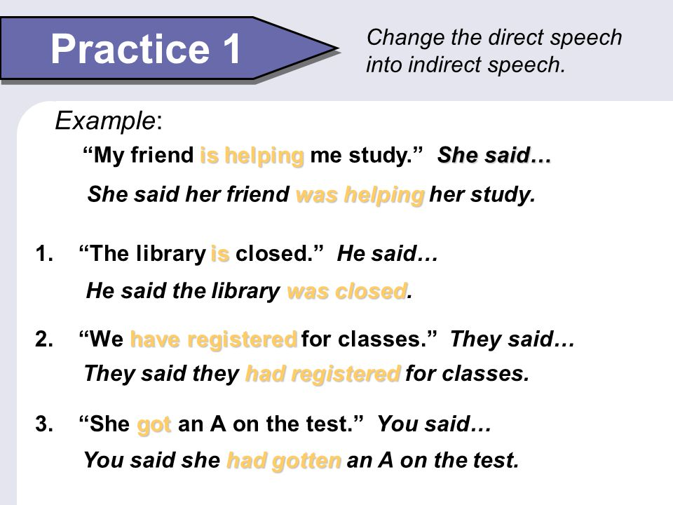 Indirect Speech 2 Modals often change in indirect speech.
