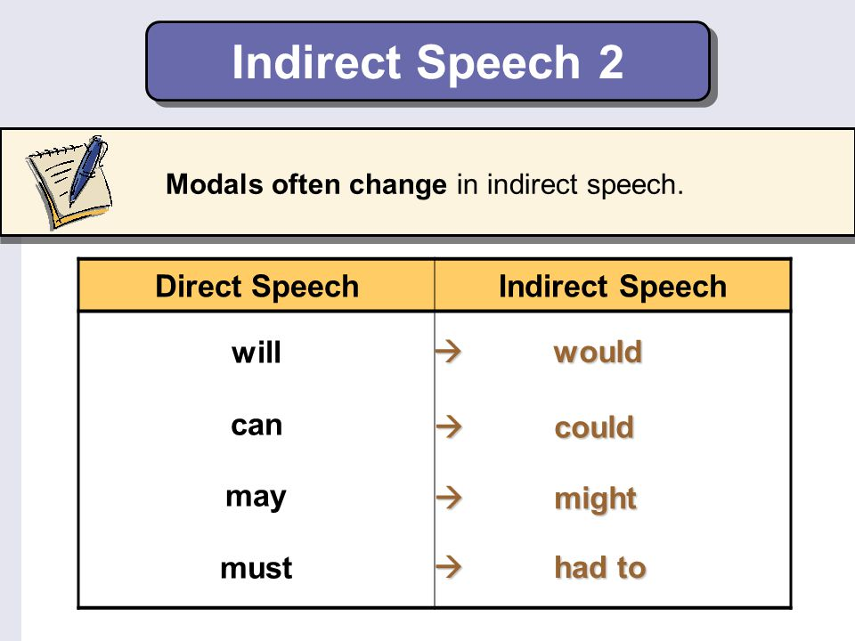 Indirect Speech 2 Modals often change in indirect speech. Direct SpeechIndirect Speech will can may must  would  could  might  had to