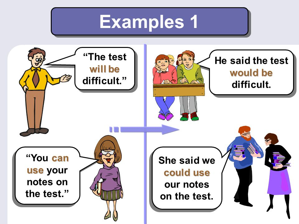 """Examples 1 will be """"The test will be difficult."""" would be He said the test would be difficult. could use She said we could use our notes on the test."""