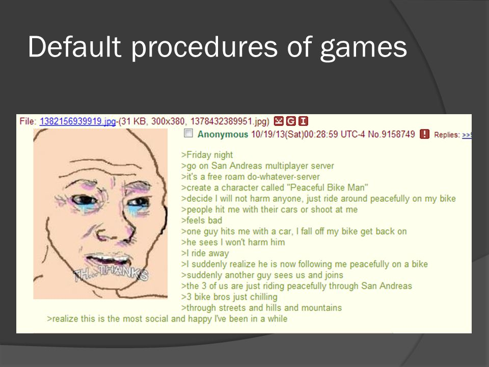 Default procedures of games