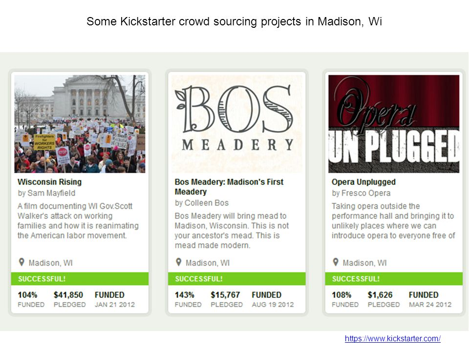 Some Kickstarter crowd sourcing projects in Madison, Wi https://www.kickstarter.com/