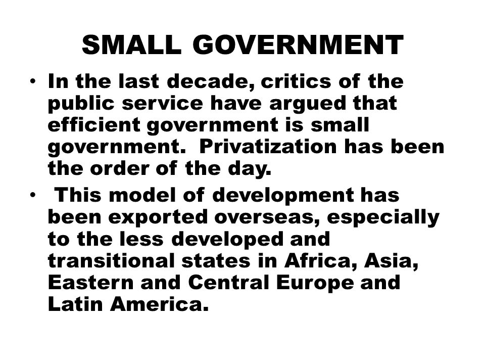 SMALL GOVERNMENT In the last decade, critics of the public service have argued that efficient government is small government. Privatization has been t