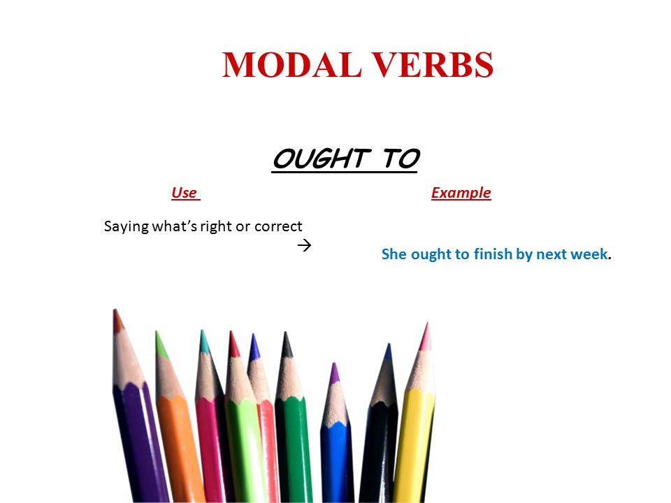 MODAL VERBS OUGHT TO Use Example Saying what's right or correct  She ought to finish by next week.