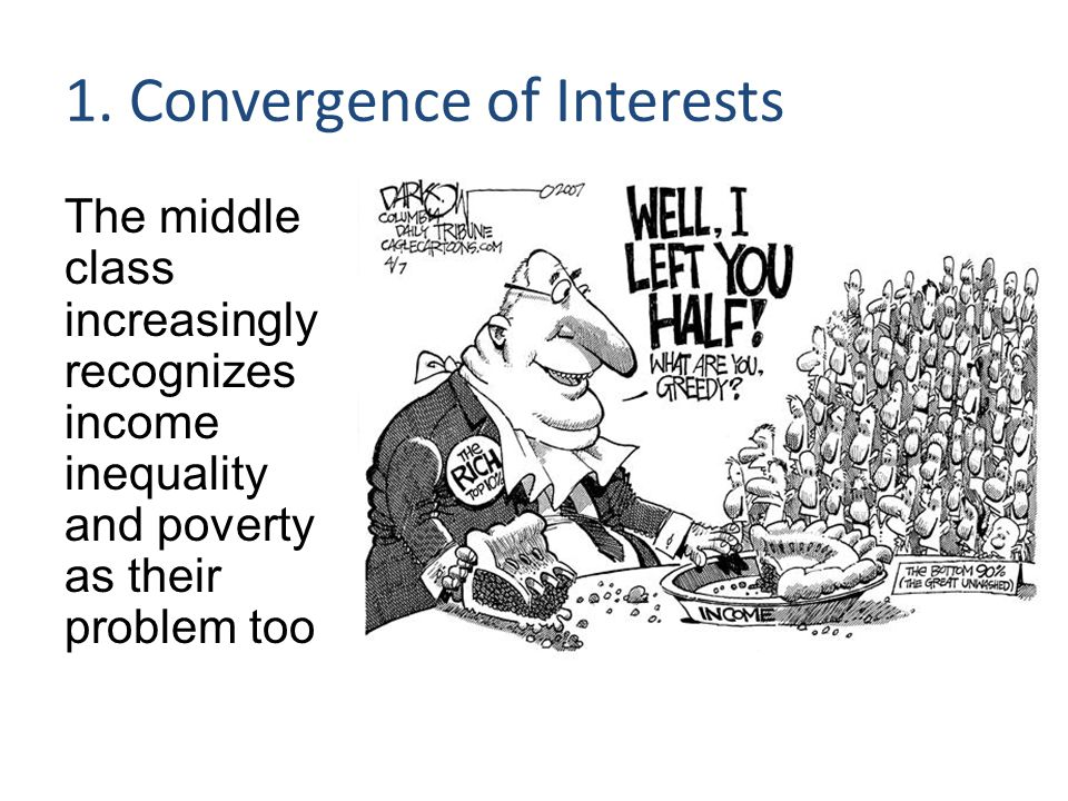 1. Convergence of Interests The middle class increasingly recognizes income inequality and poverty as their problem too