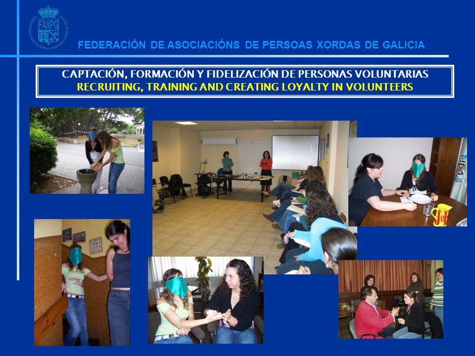 FEDERACIÓN DE ASOCIACIÓNS DE PERSOAS XORDAS DE GALICIA CAPTACIÓN, FORMACIÓN Y FIDELIZACIÓN DE PERSONAS VOLUNTARIAS RECRUITING, TRAINING AND CREATING LOYALTY IN VOLUNTEERS