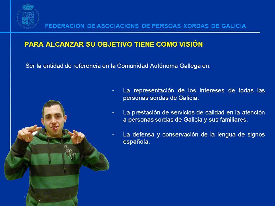 FEDERACIÓN DE ASOCIACIÓNS DE PERSOAS XORDAS DE GALICIA PARA ALCANZAR SU OBJETIVO TIENE COMO VISIÓN -La representación de los intereses de todas las personas sordas de Galicia.