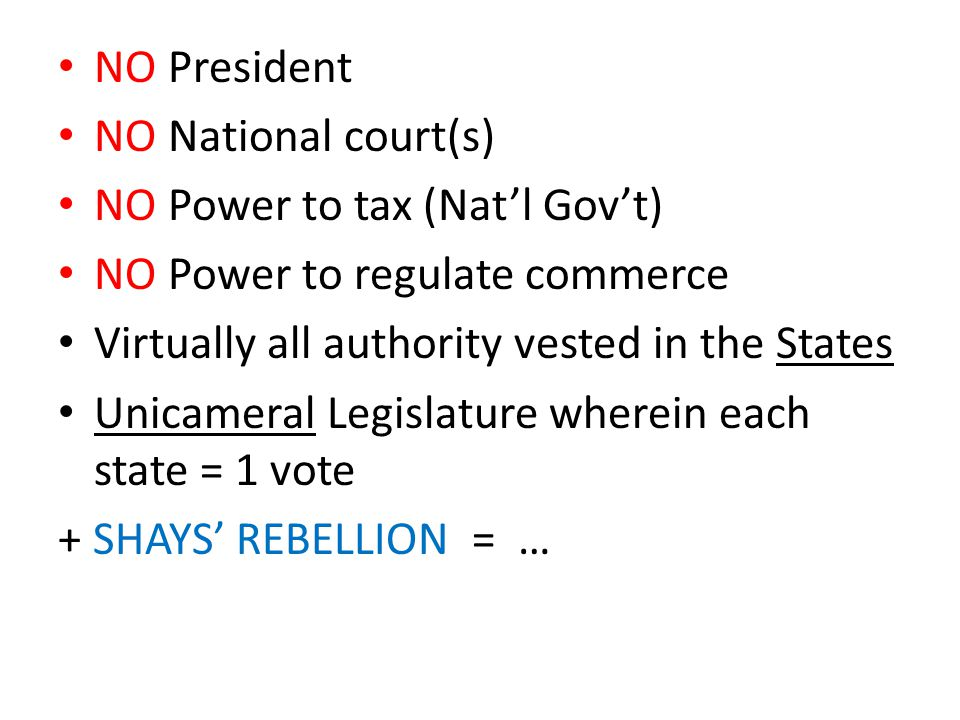 NO President NO National court(s) NO Power to tax (Nat'l Gov't) NO Power to regulate commerce Virtually all authority vested in the States Unicameral Legislature wherein each state = 1 vote + SHAYS' REBELLION = …