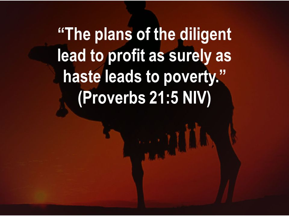 The plans of the diligent lead to profit as surely as haste leads to poverty. (Proverbs 21:5 NIV)