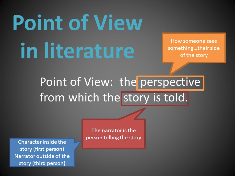 Point of View in literature Point of View: the perspective from which the story is told.