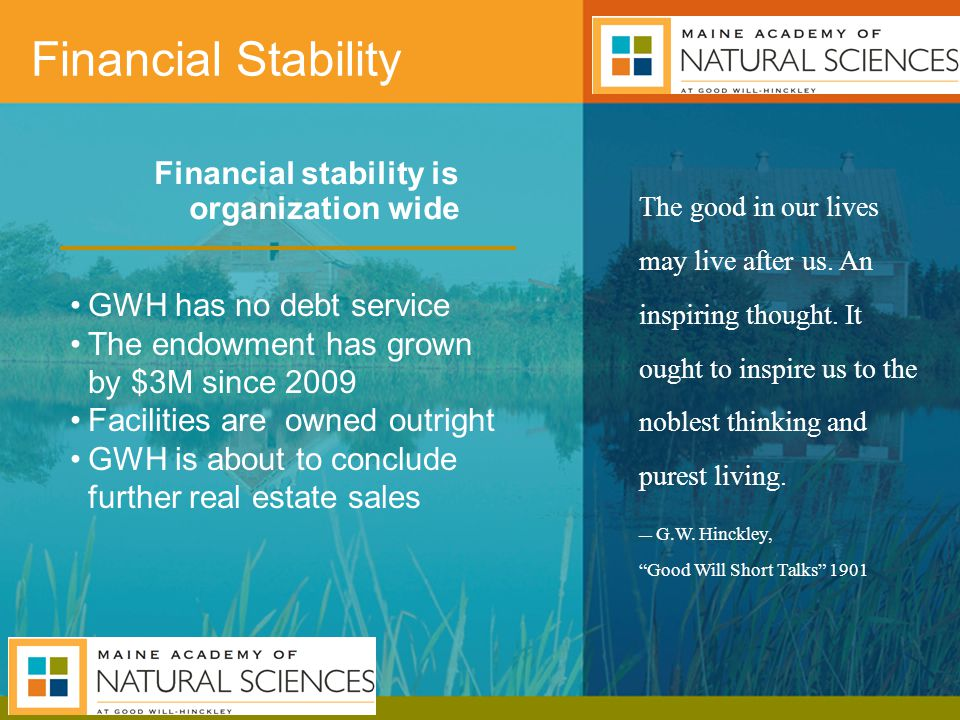 Financial stability is organization wide Financial Stability The good in our lives may live after us.