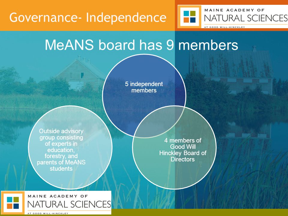 Governance- Independence MeANS board has 9 members 5 independent members 4 members of Good Will Hinckley Board of Directors Outside advisory group consisting of experts in education, forestry, and parents of MeANS students