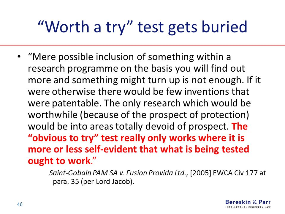 """""""Worth a try"""" test gets buried """"Mere possible inclusion of something within a research programme on the basis you will find out more and something mig"""