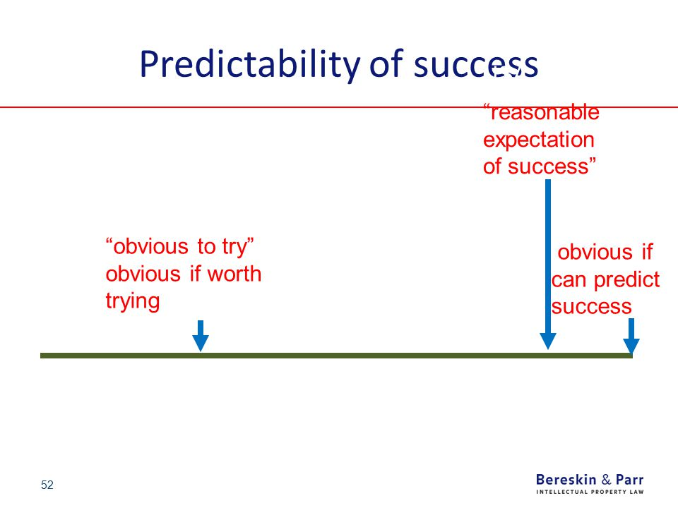 """52 Predictability of success 0%100% """"obvious to try"""" obvious if worth trying """"reasonable expectation of success"""" 1977: UK Johns- Manville 1979 Hoechst"""
