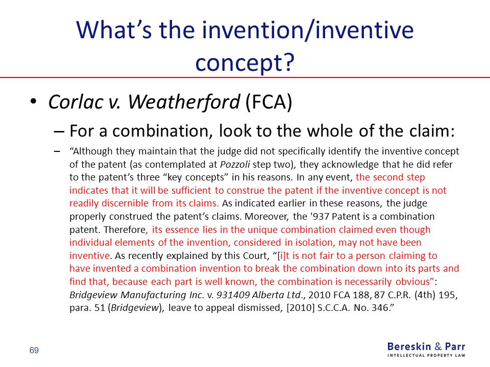 """What's the invention/inventive concept? Corlac v. Weatherford (FCA) – For a combination, look to the whole of the claim: – """"Although they maintain tha"""