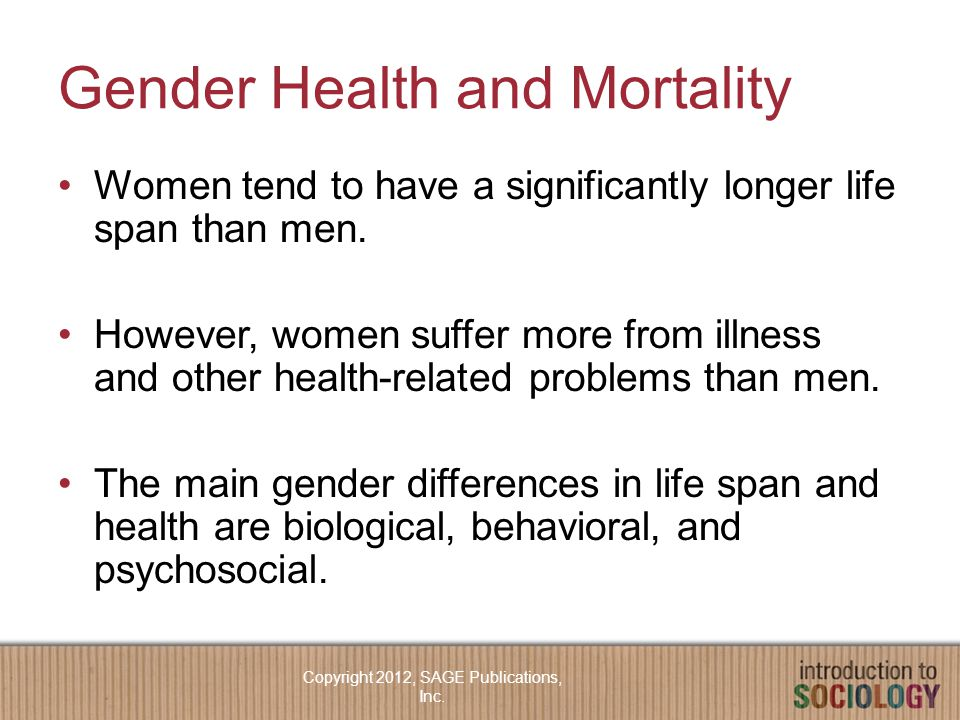 Gender Health and Mortality Women tend to have a significantly longer life span than men.