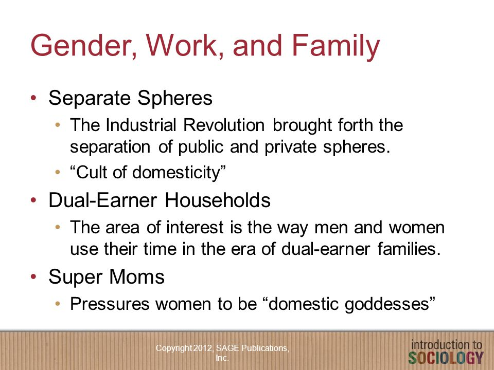 Gender, Work, and Family Separate Spheres The Industrial Revolution brought forth the separation of public and private spheres.