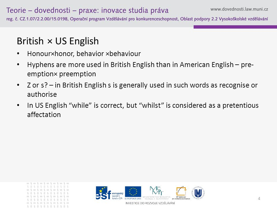 British × US English Honour×honor, behavior ×behaviour Hyphens are more used in British English than in American English – pre- emption× preemption Z or s.