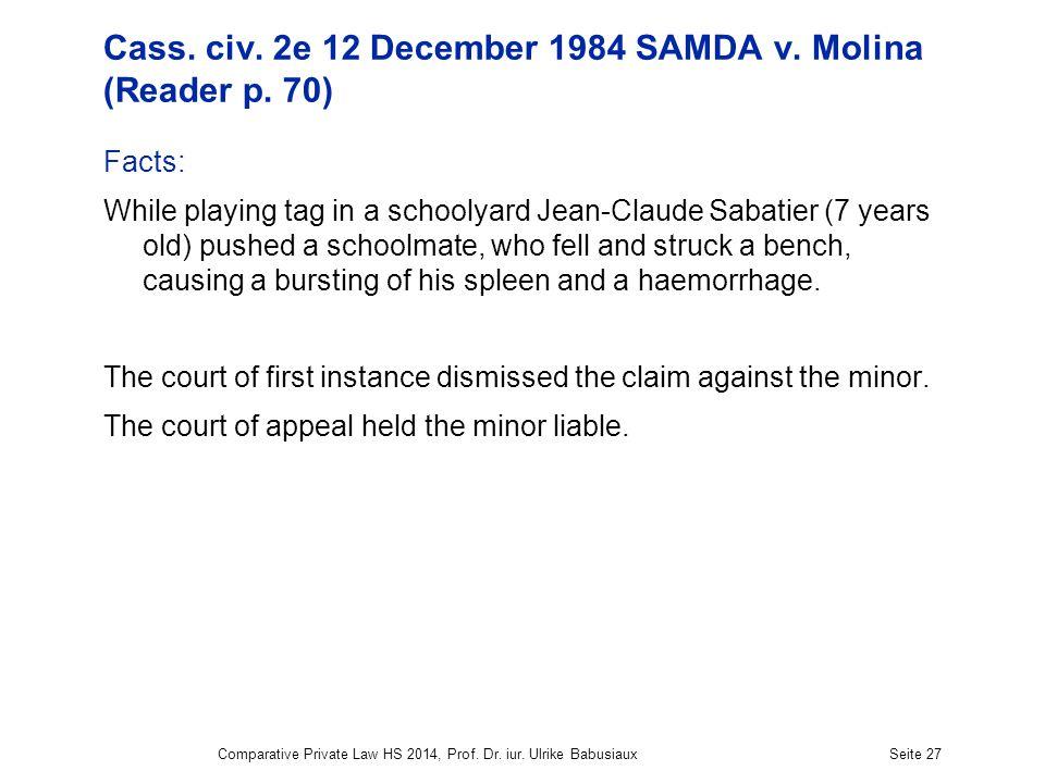 Cass. civ. 2e 12 December 1984 SAMDA v. Molina (Reader p.