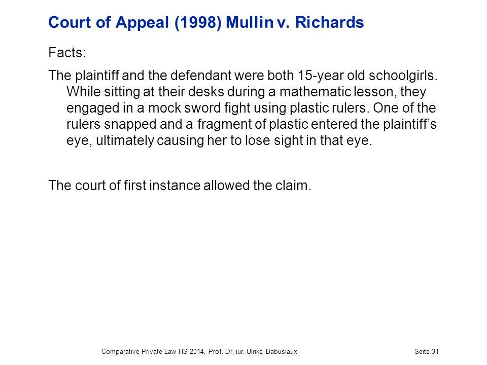 Court of Appeal (1998) Mullin v.