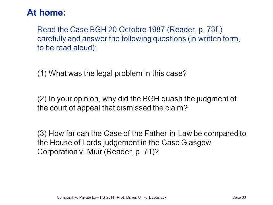 At home: Read the Case BGH 20 Octobre 1987 (Reader, p.