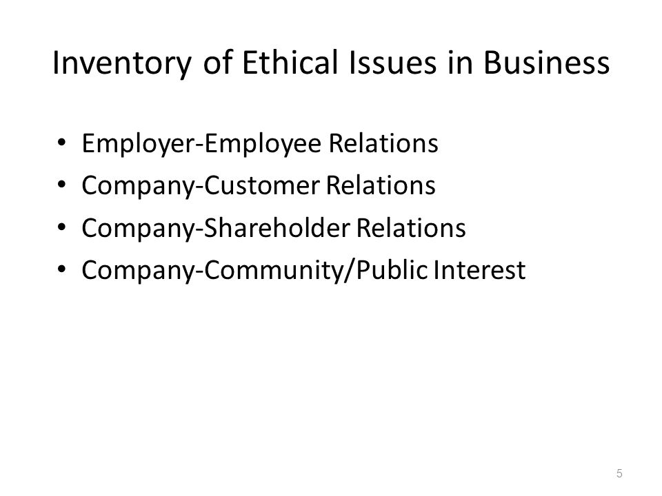 Inventory of Ethical Issues in Business Employer-Employee Relations Company-Customer Relations Company-Shareholder Relations Company-Community/Public