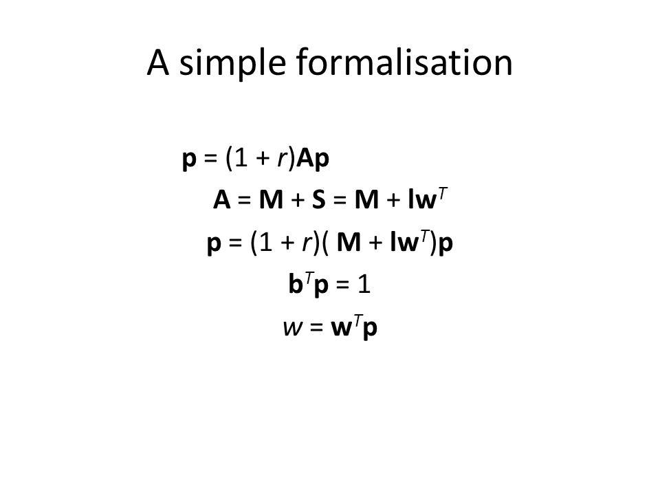 A simple formalisation p = (1 + r)Ap A = M + S = M + lw T p = (1 + r)( M + lw T )p b T p = 1 w = w T p