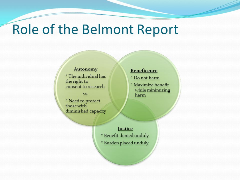 Role of the Belmont Report Justice * Benefit denied unduly * Burden placed unduly Beneficence * Do not harm * Maximize benefit while minimizing harm Autonomy * The individual has the right to consent to research vs.