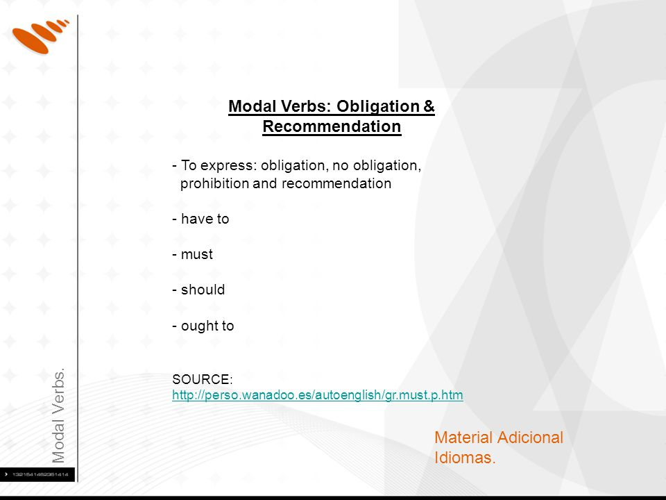 Modal Verbs. Material Adicional Idiomas. Modal Verbs: Obligation & Recommendation - To express: obligation, no obligation, prohibition and recommendat