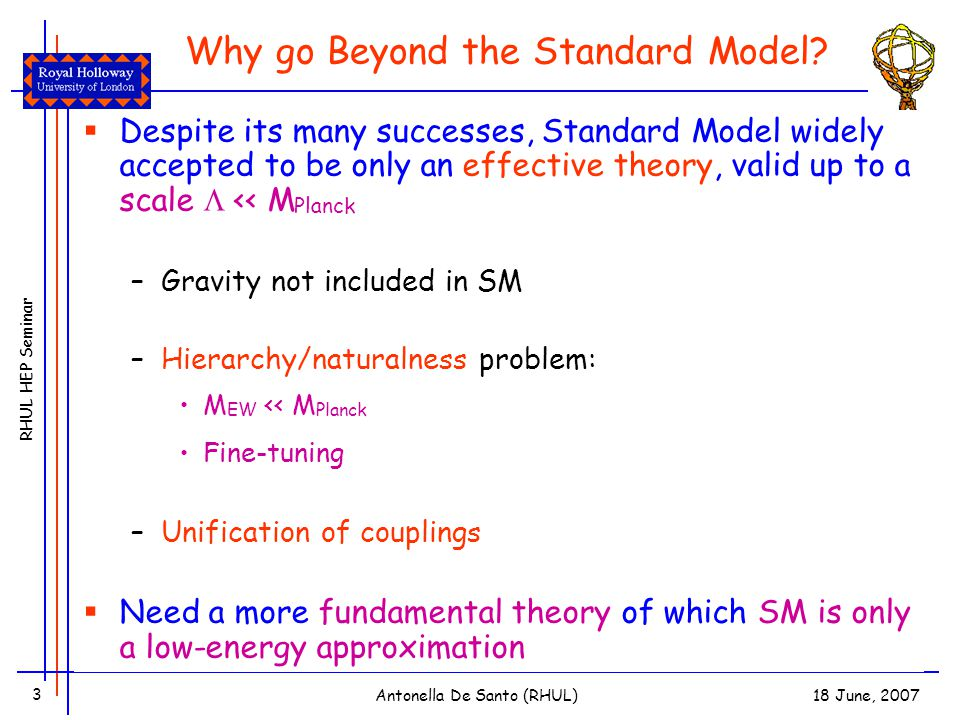 RHUL HEP Seminar 18 June, 2007Antonella De Santo (RHUL) 3 Why go Beyond the Standard Model.