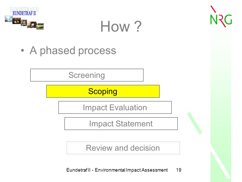 Eundetraf II - Environmental Impact Assessment19 How ? A phased process Screening Scoping Impact Evaluation Impact Statement Review and decision