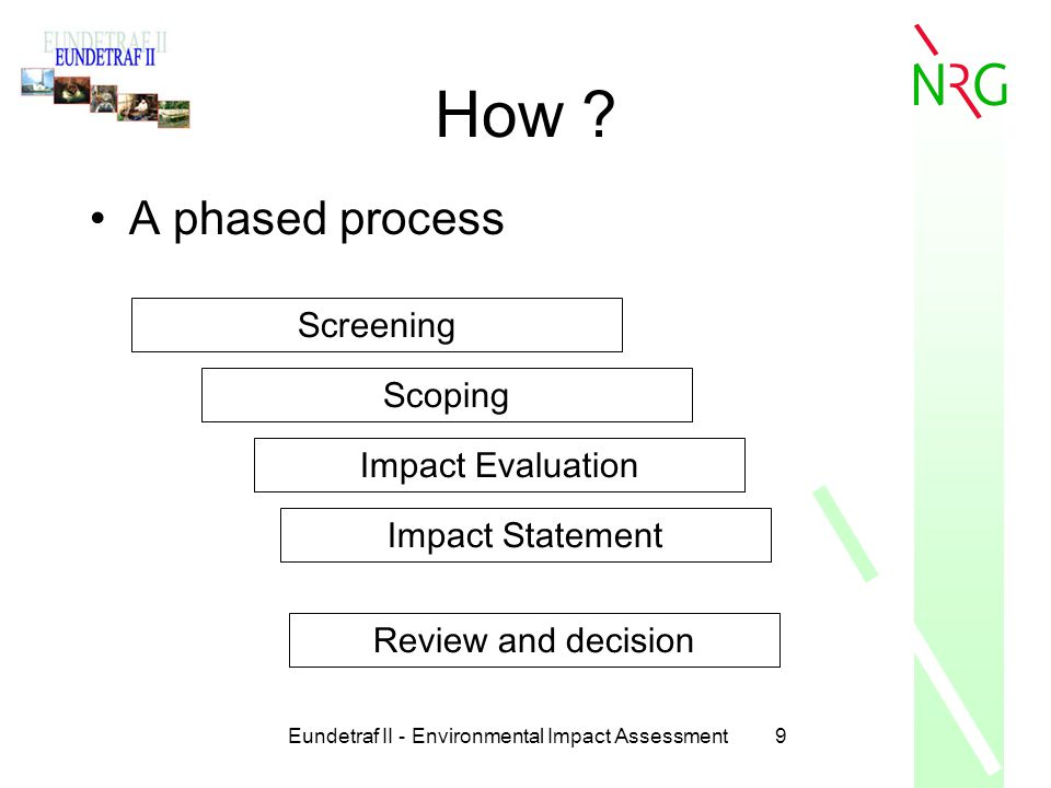 Eundetraf II - Environmental Impact Assessment9 How ? A phased process Screening Scoping Impact Evaluation Impact Statement Review and decision