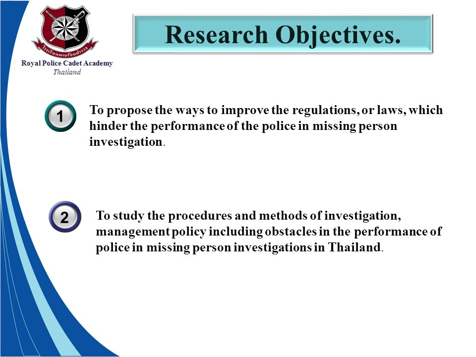 Royal Police Cadet Academy Thailand Research Objectives.