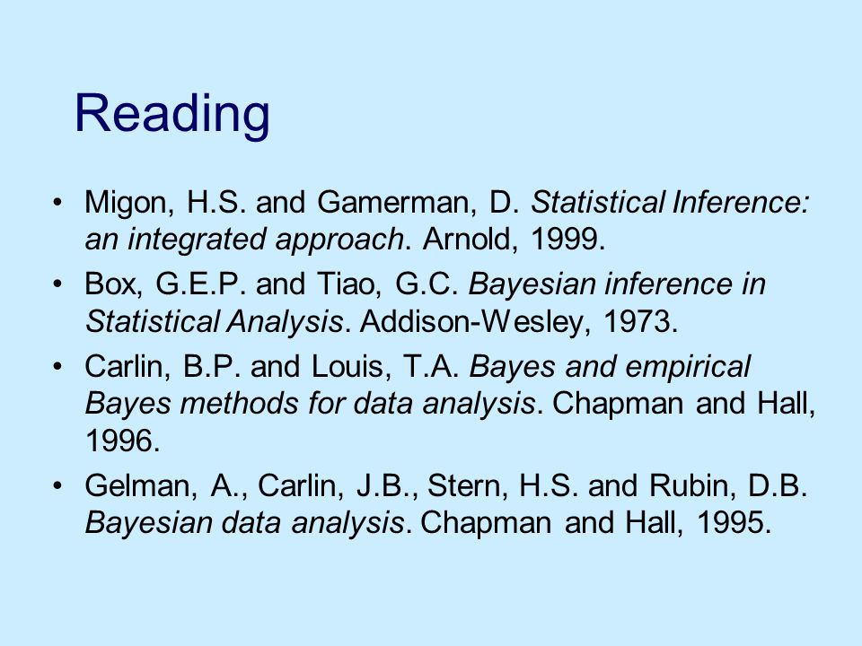 Reading Migon, H.S. and Gamerman, D. Statistical Inference: an integrated approach.