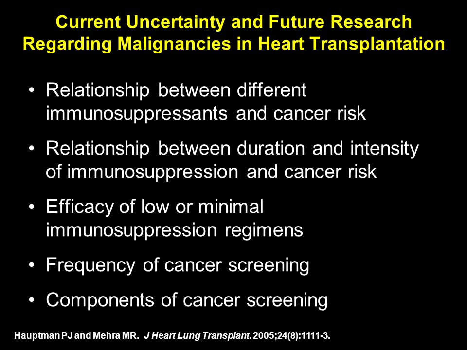 Current Uncertainty and Future Research Regarding Malignancies in Heart Transplantation Relationship between different immunosuppressants and cancer r