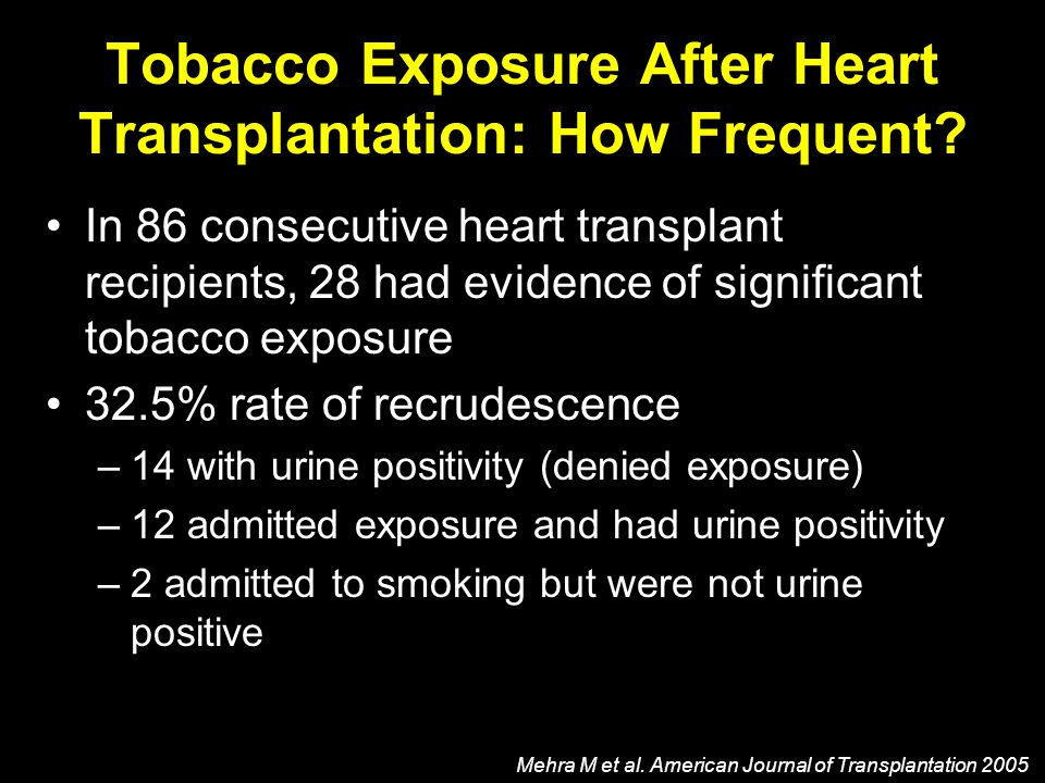 Tobacco Exposure After Heart Transplantation: How Frequent? Mehra M et al. American Journal of Transplantation 2005 In 86 consecutive heart transplant