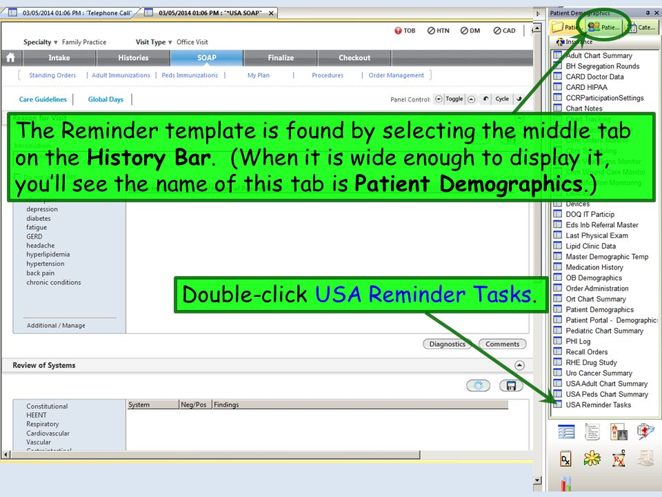 The Reminder template is found by selecting the middle tab on the History Bar. (When it is wide enough to display it, you'll see the name of this tab