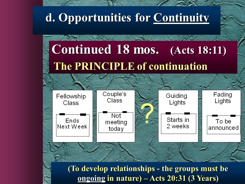 (To develop relationships - the groups must be ongoing in nature) – Acts 20:31 (3 Years) Continued 18 mos.