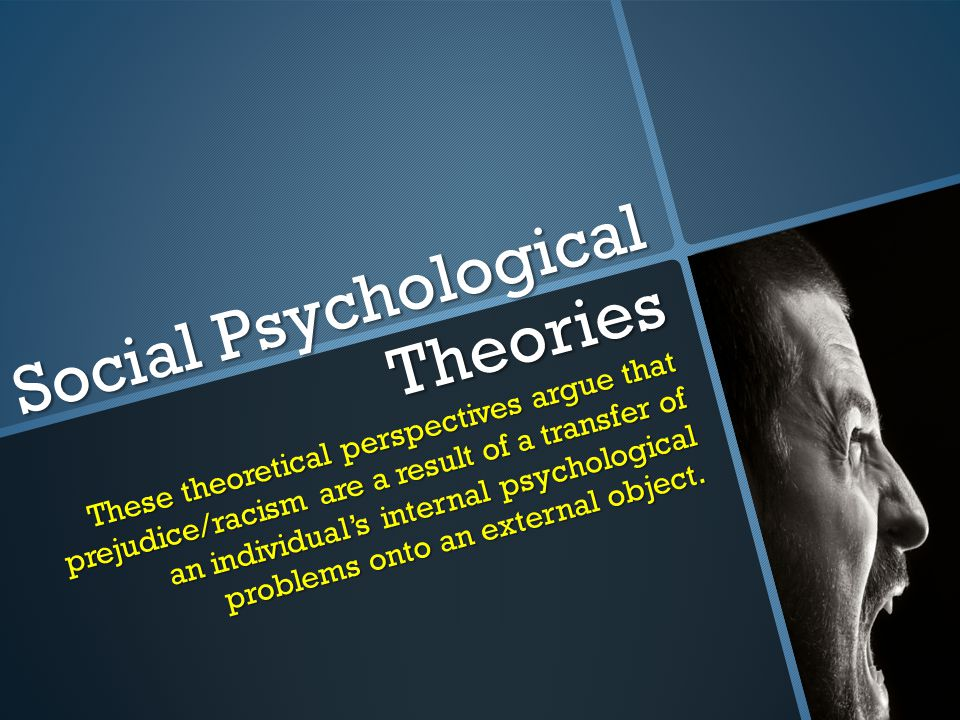 Social Psychological Theories These theoretical perspectives argue that prejudice/racism are a result of a transfer of an individual's internal psychological problems onto an external object.