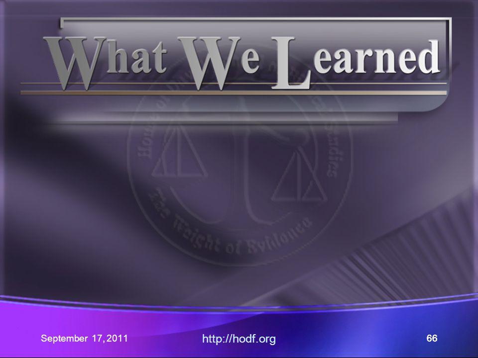 September 17, 2011 http://hodf.org 66