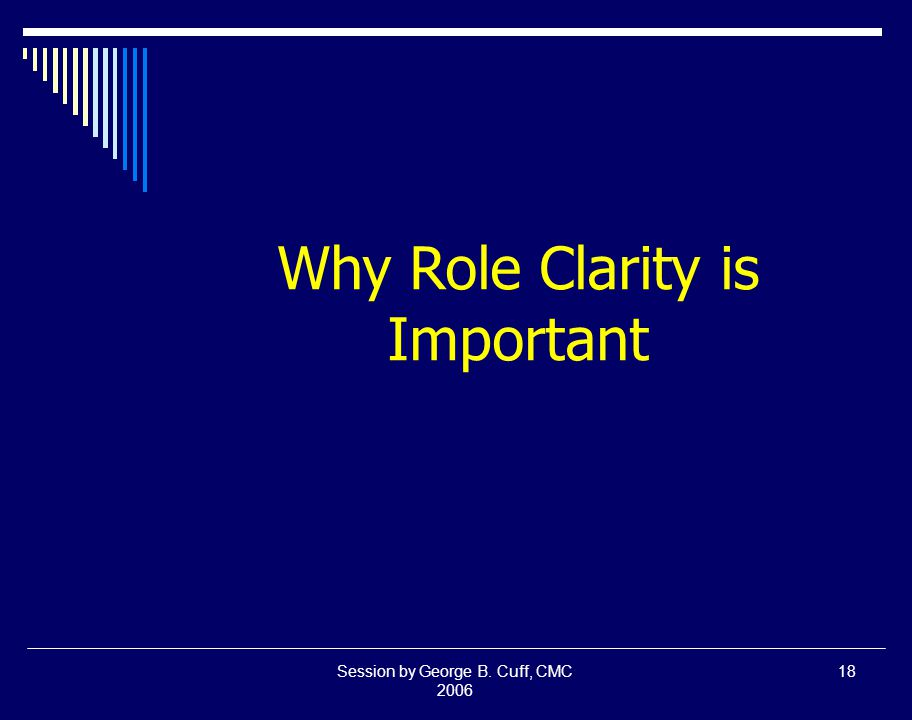 Session by George B. Cuff, CMC 2006 18 Why Role Clarity is Important