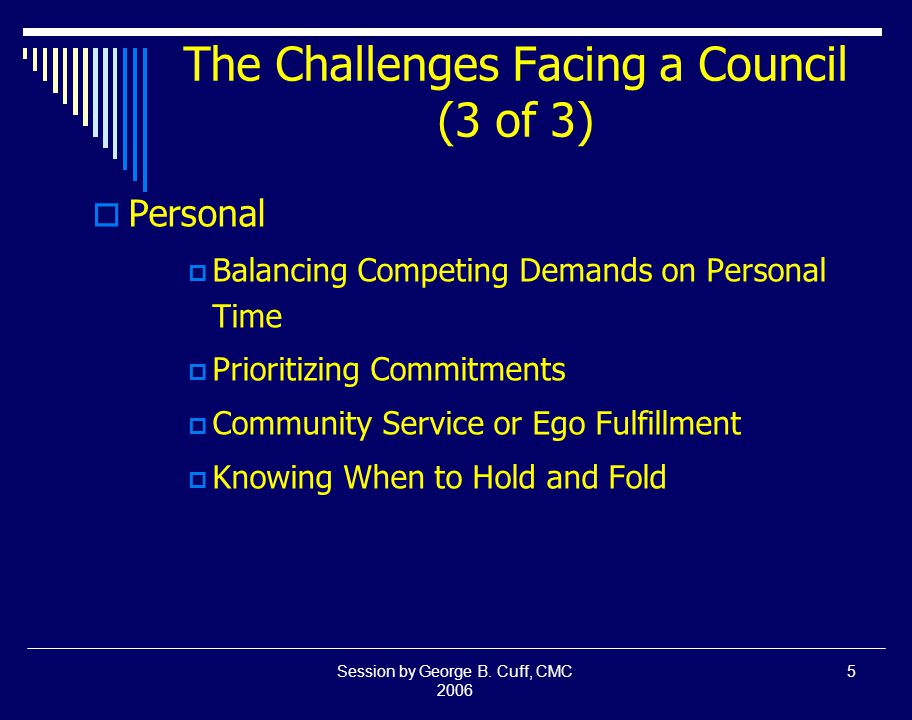 Session by George B.Cuff, CMC 2006 16 Leadership is Not...