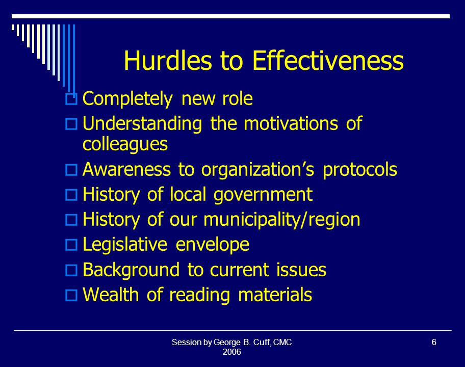 Session by George B.Cuff, CMC 2006 17 Leadership is...