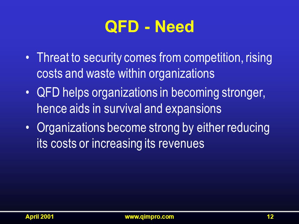 April 2001www.qimpro.com12 QFD - Need Threat to security comes from competition, rising costs and waste within organizations QFD helps organizations in becoming stronger, hence aids in survival and expansions Organizations become strong by either reducing its costs or increasing its revenues