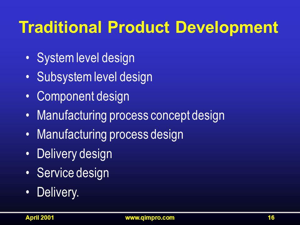 April 2001www.qimpro.com16 System level design Subsystem level design Component design Manufacturing process concept design Manufacturing process design Delivery design Service design Delivery.